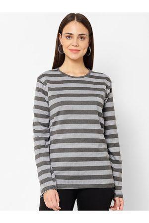 VIMAL JONNEY Women Grey Striped Round Neck T-shirt