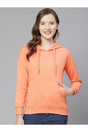 Fort Collins Women Orange Solid Hooded Sweatshirt