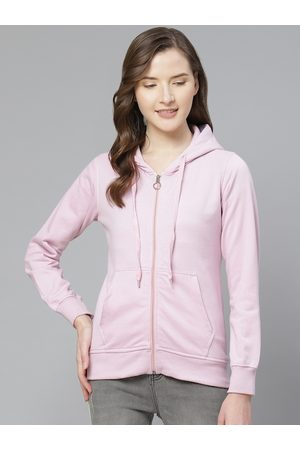 Fort Collins Women Lavender Solid Hooded Sweatshirt