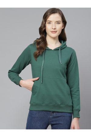 Fort Collins Women Green Solid Hooded Sweatshirt