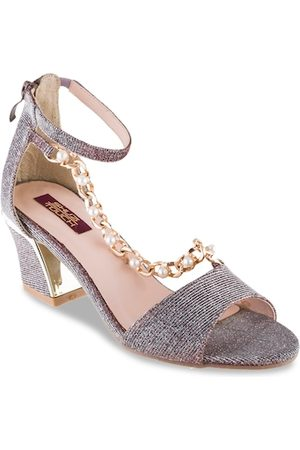 SHUZ TOUCH Women Silver-Toned Printed Sandals