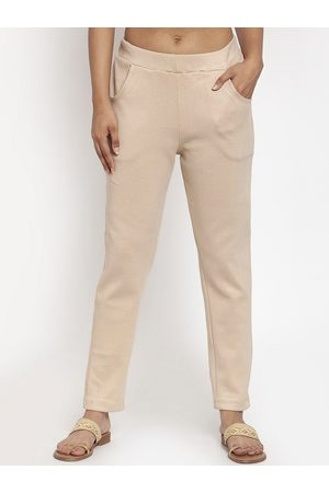 Tag 7 Women Beige Solid Ankle-Length Leggings