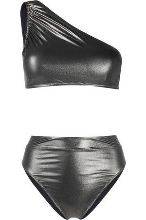 Noire Swimwear Metallic one-shoulder bikini