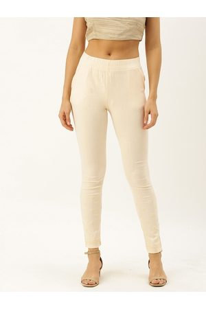 Soch Women Off-White Regular Fit Embroidered Regular Trousers