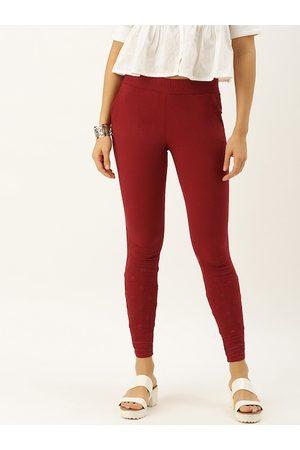 Soch Women Maroon Regular Fit Emroidered Regular Trousers