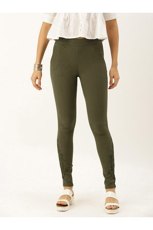 Soch Women Olive Green Regular Fit Solid Regular Trousers with Embroidery