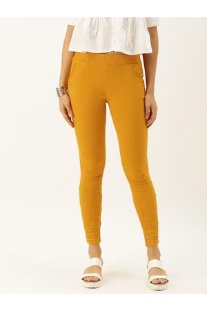 Soch Women Mustard Yellow Skinny Fit Embroidered Trousers
