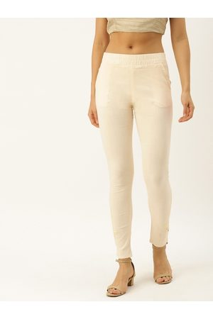 Soch Women Off-White Regular Fit Embroidered Trousers