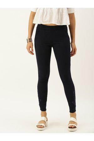 Soch Women Navy Blue Regular Fit Solid Trousers