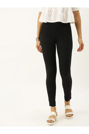 Soch Women Black Regular Fit Embroidered Trousers