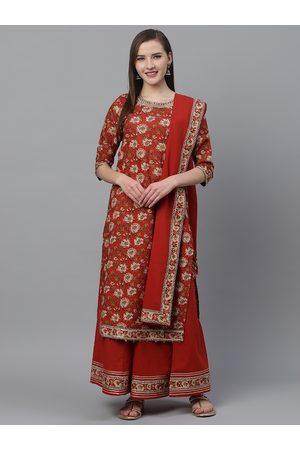 Ishin Women Rust Red & Beige Kalamkari Print Kurta with Palazzos & Dupatta