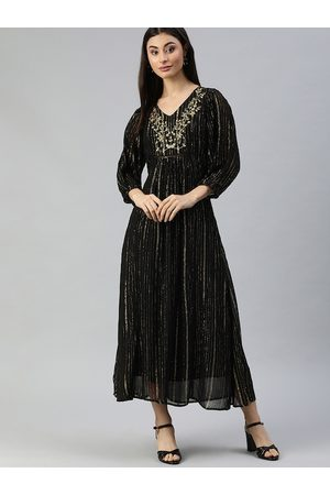 Ishin Women Black & Gold-Coloured Striped Maxi Dress with Embroidered Detail