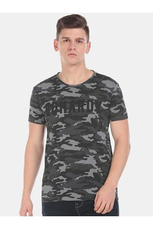 ED HARDY Men Grey Printed Round Neck T-shirt