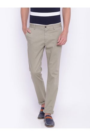 Lifestyle Men Beige Solid Slim Fit Chino Trousers