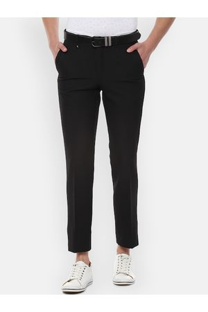 V Dot Men Black Slim Fit Solid Regular Trousers