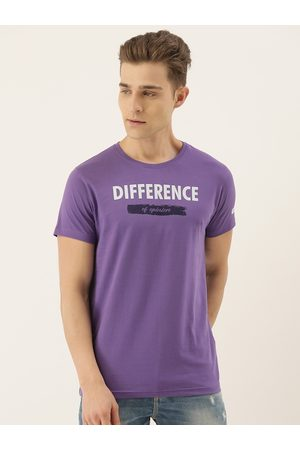 Difference of Opinion Men Short Sleeve - Men Purple Printed Round Neck T-shirt