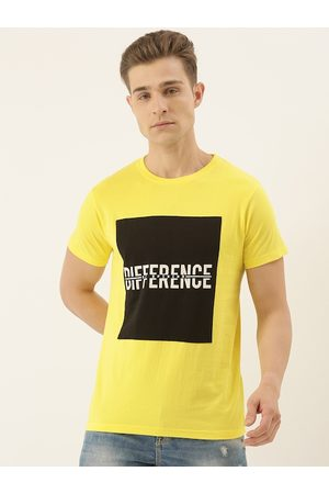 Difference of Opinion Men Yellow Printed Round Neck T-shirt
