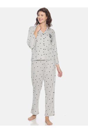 Campus Women Grey Printed Night suit
