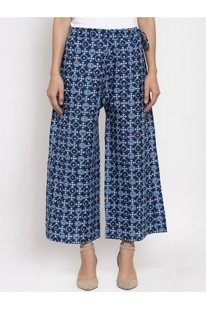 Tag 7 Women Navy Blue Printed Flared Palazzos