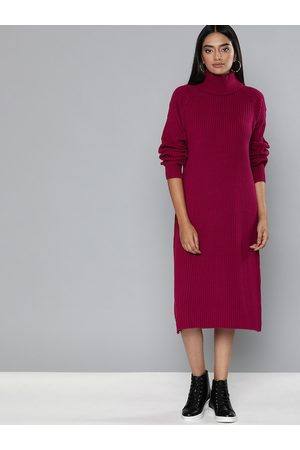 Chemistry Women Pink Self Design Sweater Dress