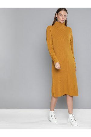 Chemistry Women Mustard Self Design Jumper Dress