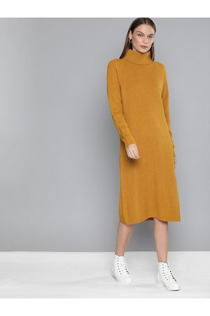 Chemistry Women Mustard Self Design Sweater Dress