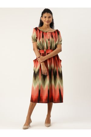 Cottinfab Women Orange & Black Printed A-Line Dress