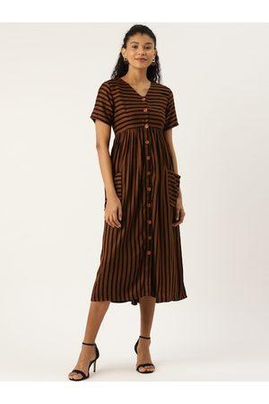 Cottinfab Women Brown & Black Striped A-Line Dress
