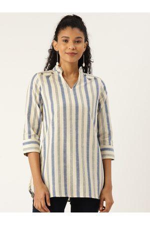 Cottinfab Women Off-White & Blue Striped Top