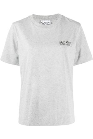 Ganni Women Short Sleeve - Logo-print crew-neck T-shirt