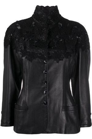 A.N.G.E.L.O. Vintage Cult 1990s lace panel leather jacket