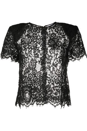 Self-Portrait Lace-trimmed short-sleeved blouse
