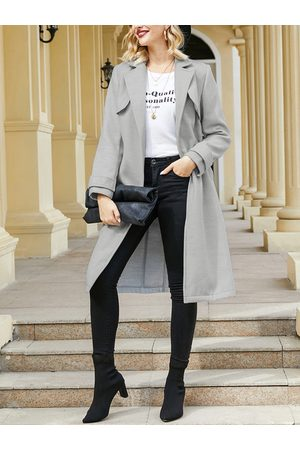 YOINS Women Trench Coats - Grey Side Pockets Lapel Collar Long Sleeves Trench Coat