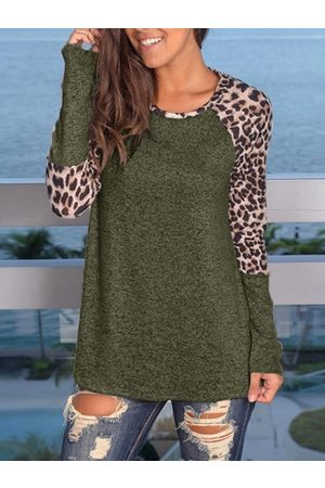 YOINS Army Green Leopard Round Neck Long Sleeves Tee