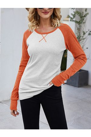 YOINS CHRISTMAS SALE Patchwork Round Neck Long Sleeves Tee