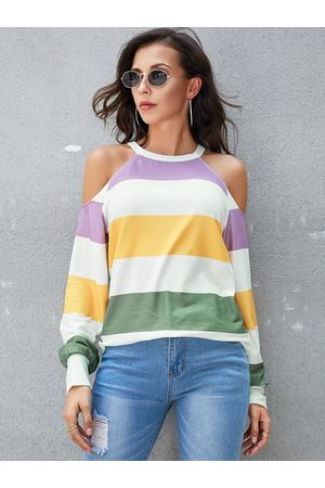 YOINS Multicolor Striped Cold Shoulder Long Sleeves Tee