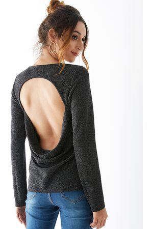 YOINS Backless Design Round Neck Long Sleeves Tee