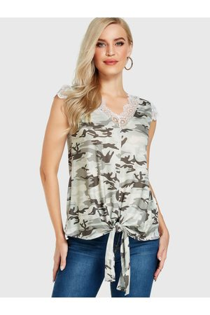 YOINS Camouflage Lace Trim V-neck Sleeveless Top