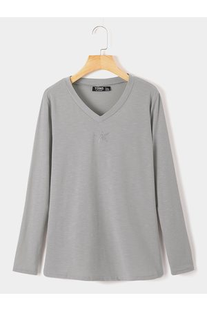 YOINS Grey Graphic V-neck Long Sleeves Knitted Tee