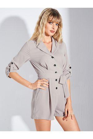 YOINS Women Long Sleeve - Khaki Belted Front Button Notch Collar Long Sleeves Playsuit