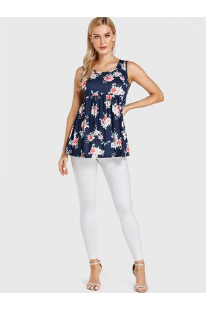 YOINS Floral Print Round Neck Pleated Tank Top