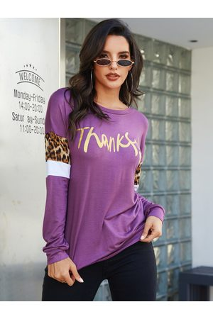 YOINS Splice Letter Pattern Round Neck Long Sleeves Tee