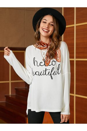 YOINS White Letter Round Neck Long Sleeves T-shirt