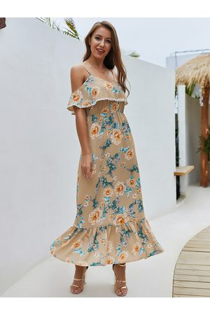 YOINS Women Printed Dresses - Apricot Floral Off-the-shoulder Overlay Strap Maxi Dress