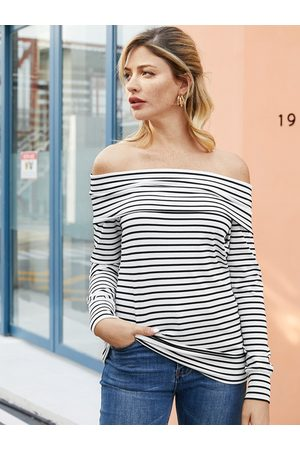 YOINS White Stripe Off The Shoulder Long Sleeves Knit Tee