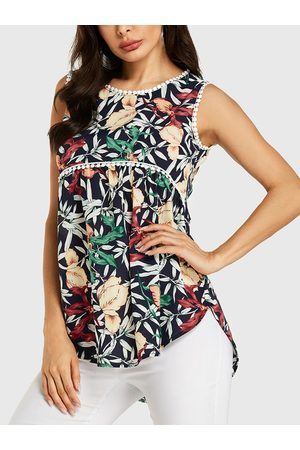 YOINS Random Floral Print Lace Details Sleeveless Top