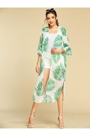 YOINS Leaf Printed Bell Sleeves Split Design Cover-up