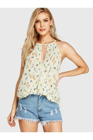 YOINS Cut Out Calico Pattern Halter Sleeveless Cami
