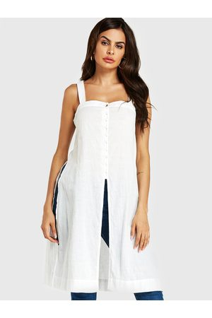 YOINS Slit Design Embroidered Square Neck Sleeveless Cami