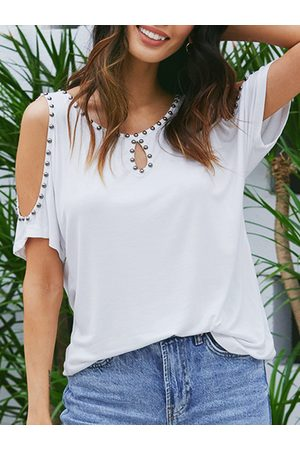 YOINS White Cold Shoulder Short Sleeves Tee